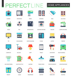 set of flat home appliances icons vector image