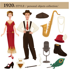 1920 fashion style man and woman personal objects vector