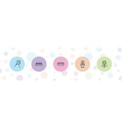 5 botany icons vector image