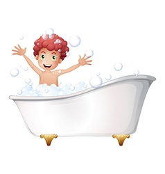 A bathtub with a young boy playing vector image