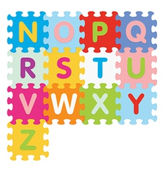 Alphabet from N to N written with puzzle vector
