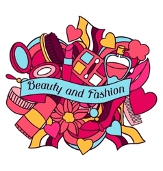 Beauty and fashion background design with cosmetic vector image
