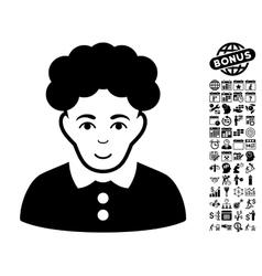 Brunette Woman Flat Icon With Bonus vector