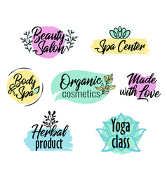 Brush style logo set beauty and spa product vector