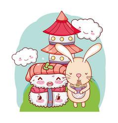 Bunny and food kawaii vector