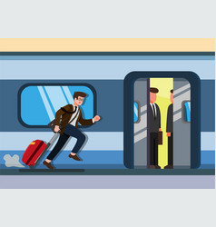 businessman running to catch train office man vector image