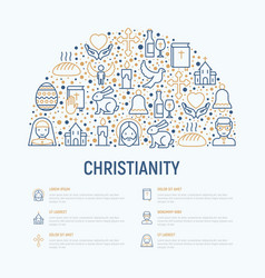Christianity concept in half circle vector