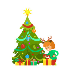 christmas holiday new year eve girl and tree vector image