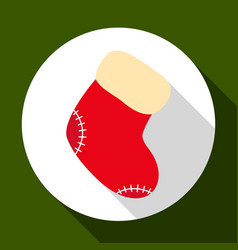christmas sock icon on green background with long vector image