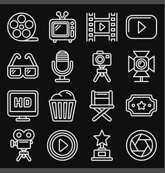 cinema and movie icons set on black background vector image