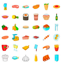 cook room icons set cartoon style vector image