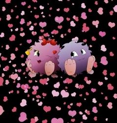 couple cartoon monster black background heart vector image
