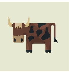 Cute brown cartoon bull with horns and spots vector