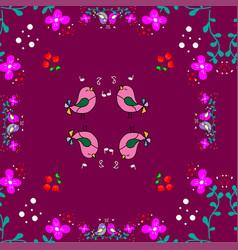 cute little bird seamless pattern with flower vector image