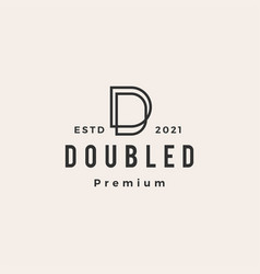 double d letter hipster vintage logo icon vector image