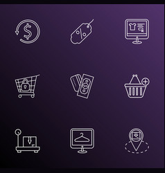 e-commerce icons line style set with money back vector image