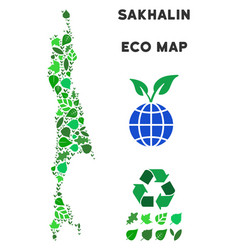 Ecology green collage sakhalin island map vector