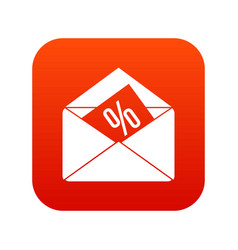 envelope with percentage icon digital red vector image