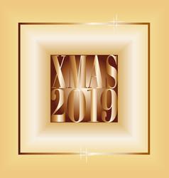 fashionable greeting card merry christmas 2019 vector image