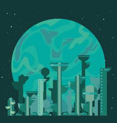 Future buildings architecture planet vector