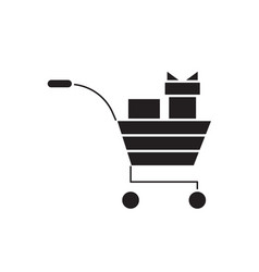 Gifts cart black concept icon gifts car vector