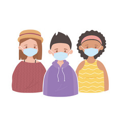 Girls and boy with medical mask prevention vector