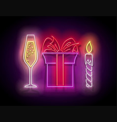 glow gift box with beautiful bow champagne and vector image