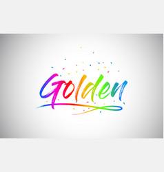 Golden creative vetor word text with handwritten vector