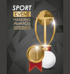 golf sport ball and trophy vector image