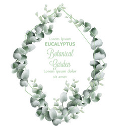 green leaves wreath card watercolor vector image