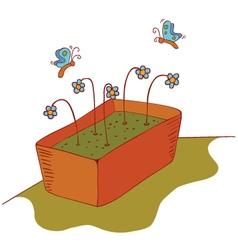growing seeds and butterflies vector image