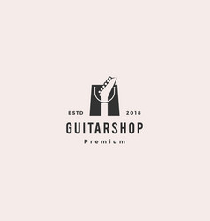 Guitar shop music logo hipster retro vintage label vector