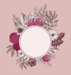 Hand drawing pink background with flowers vector
