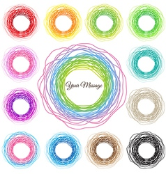 Hand drawn colorful circles abstract set vector