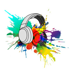 headphones with colorful splashes vector image