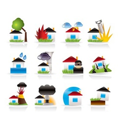 Home and house insurance and risk icons vector