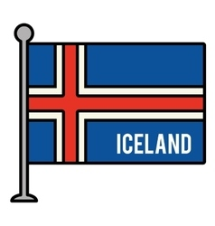 Iceland patriotic flag isolated icon vector