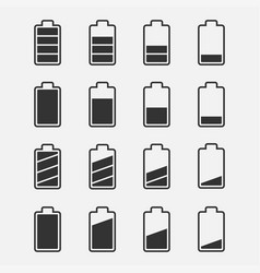 Icons battery charge level set vector