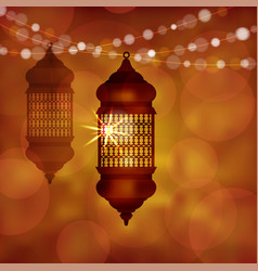 Illuminated arabic lamp lantern with string vector