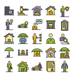 Insurance agent icons set flat vector