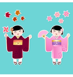 Japanese girls vector