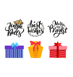 jingle bells best wishes merry bright lettering vector image