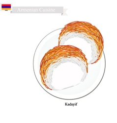 Kadayif or Armenian Shredded Pastry Dessert vector