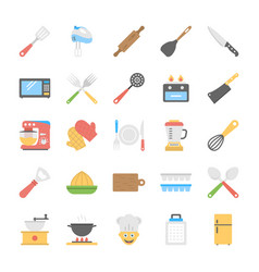 Kitchen utensils flat icons set vector