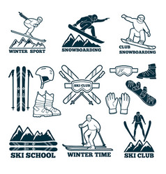 labels set for club of skier silhouette of ski vector image