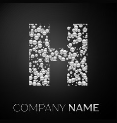 letter h logo silver dots alphabet logotype vector image
