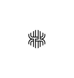 letter k and k or k and h logo design concept vector image