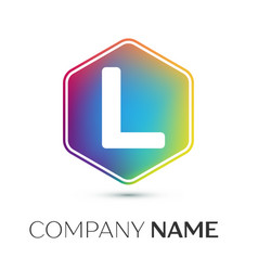 Letter l logo symbol in the colorful hexagonal on vector