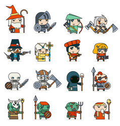 Lineart fantasy rpg game heroes villains minions vector