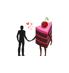 lover of cakes man and piece of cake hold on to vector image